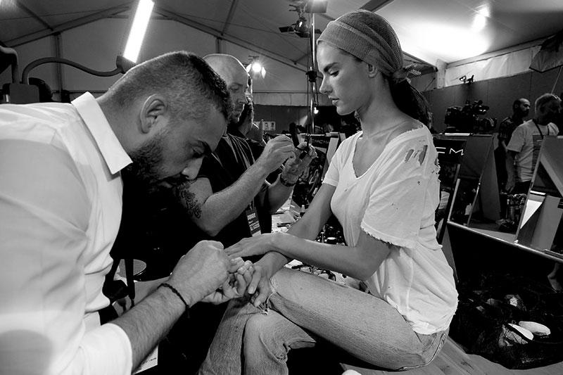 Antonio Sacripante backstage da Dsquared2 estate 2016, photo: nails& beauty Sacripante