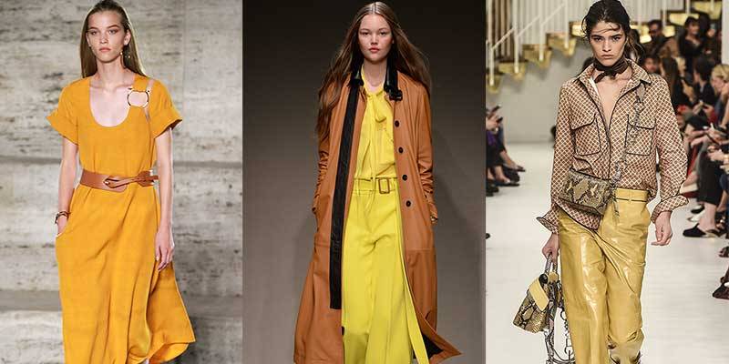 Colore di moda: il giallo. Da sinistra a destra: Ferragamo, Trussardi, Tod's