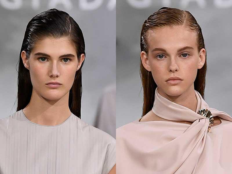 Un look capelli bagnato e riga di lato con James Pecis per Giada Estate 2019