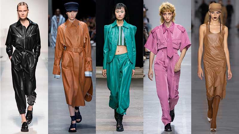 Tendenze moda primavera estate 2020 2020. Pelle e finta pelle. Sfilate da sinistra a destra: Ermanno Scervino, Sportmax, Cristiano Burani, Annakiki, Max Mara