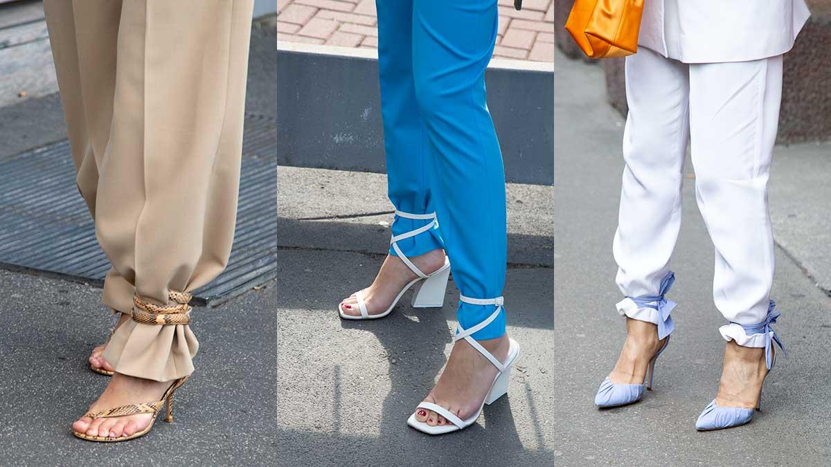 Megatendenza moda primavera estate 2020. lacci alla caviglia, piedi nudi e pedicure! Foto Charlotte Mesman