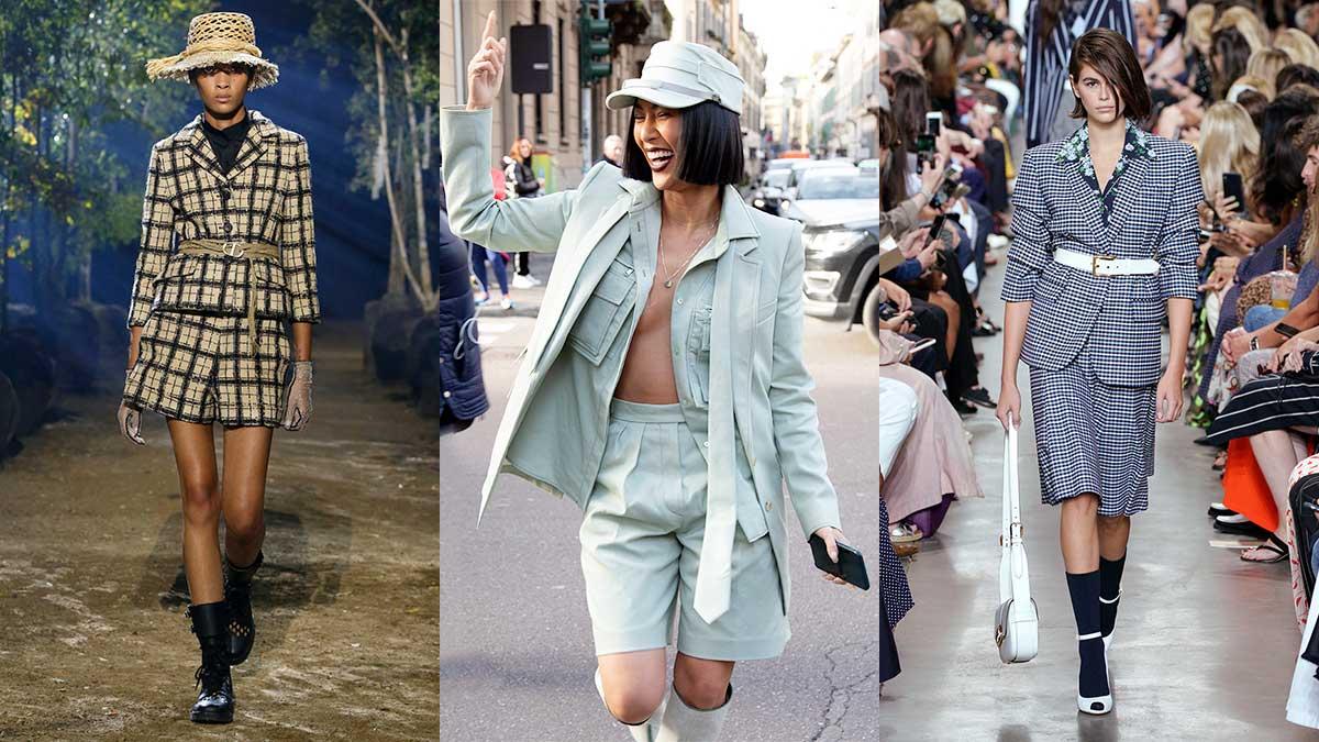 La moda primavera estate 2020. Lo conoscete lo short suit? Tendenze moda donna 2020. Da sin a dx: Dior, Max Mara, Michael Kors