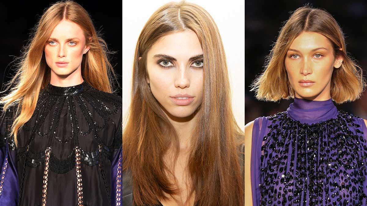 Tendenze capelli biondi primavera estate 2020: Da sinistra a destra Alberta Ferretti, Genny, Alberta Ferretti (modella: Bella Hadid)
