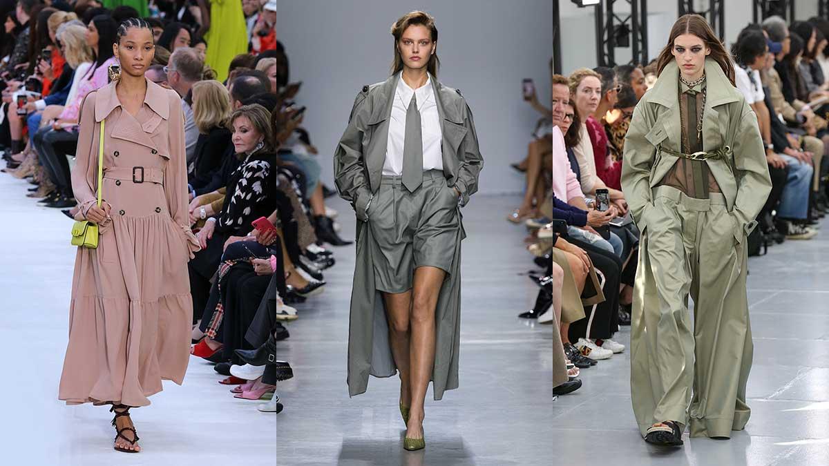 Tendenze moda donna estate 2020. Il trench coat, vecchio ma anche nuovo amore. Ecco come portarlo. Da sinistra Valentino, Annakiki, Sacai