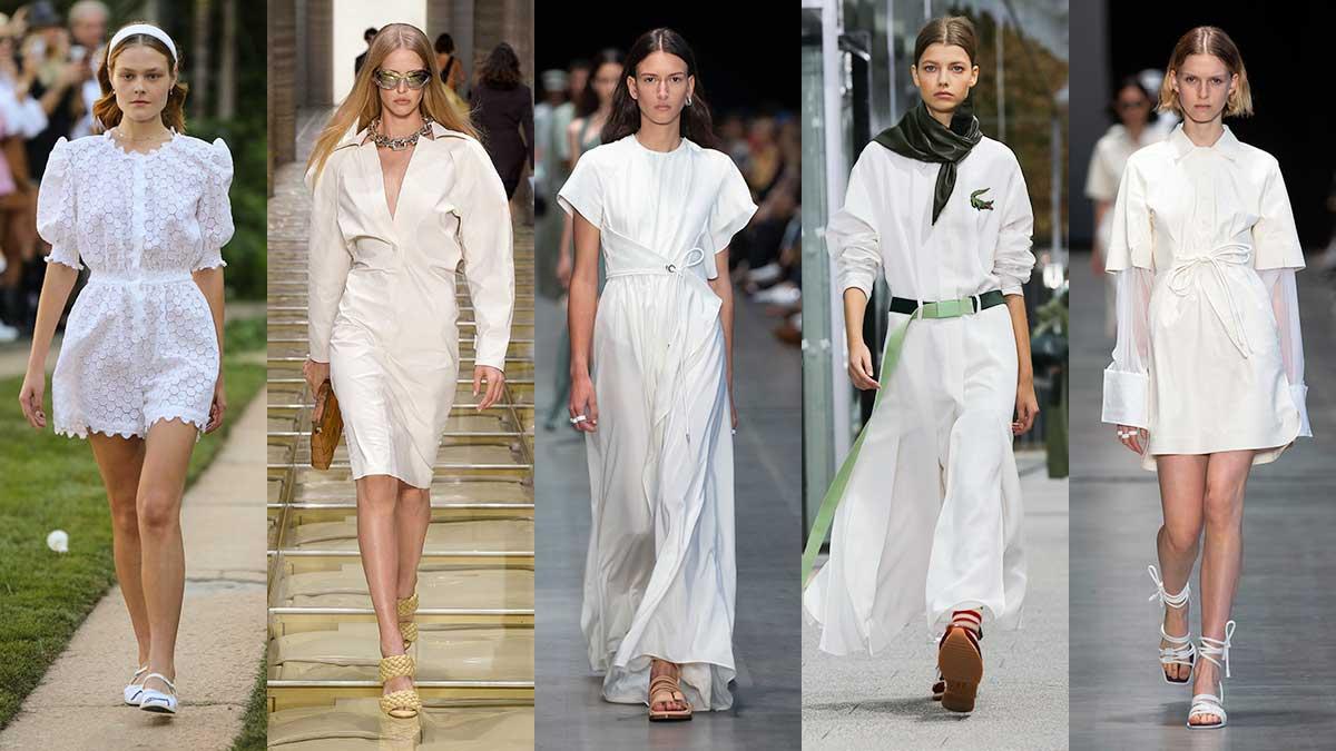 La moda per l'estate 2020, total white: sportivo, romantico, elegante. Scegliete il vostro stile. Sfilate da sin a dx: uisa Beccaria, Bottega Veneta, Sportmax, Lacoste, Sportmax