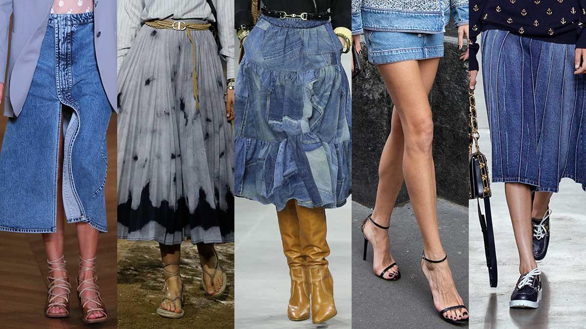 Tendenze moda estate 2020. Un must have: la gonna in denim. Da sinistra a destra: Stella McCartney, Dior, Celine, streetstyle, Michael Kors
