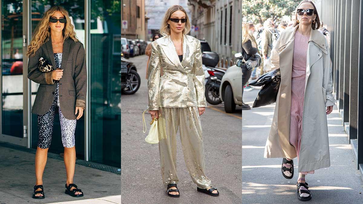 Tendenze street style estate 2020. I sandali (con le calze!) sono cool! Cosa ne pensate? - Foto a sinistra Copenhagen Fashion Week - Foto centro e destra Charlotte Mesman