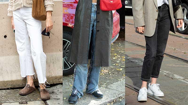 Tendenze moda streetstyle autunno inverno 2020 2021. Tre jeans look da provare. Foto: Charlotte Mesman