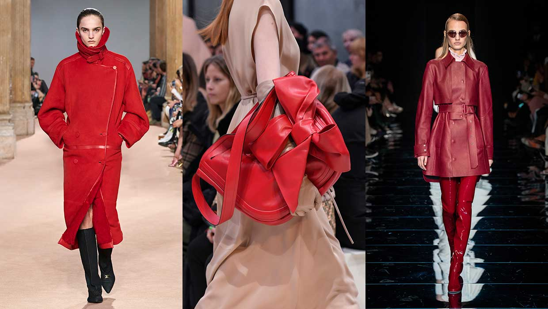 Moda. Come portare il rosso. Dieci consigli di stile, moda e tendenze inverno 2020 2021. Foto: Salvatore Ferragamo, Valentino, Sportmax