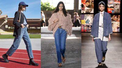 Tendenze denim jeans 2021. Foto da sinistra a destra: Celine, Valentino, Dior