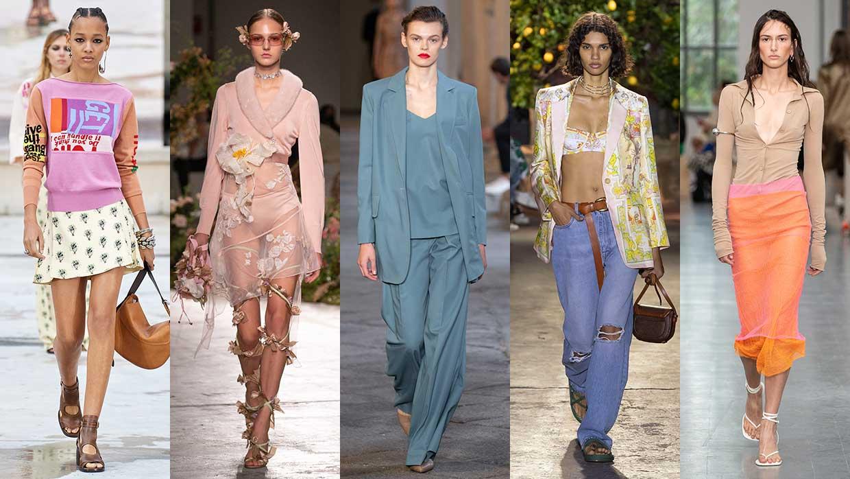 Tendenze moda primavera estate 2021. Dieci tendenze moda che ti interesseranno di sicuro! Foto da sin: Chloé, Blumarine, Max Mara, Etro, Sportmax