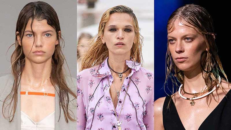 Tendenze capelli primavera estate 2021. Acconciature wet look. Foto da sinistra a destra: Sportmax, Chloé, Versace