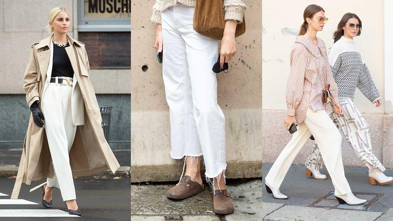 Moda street style donna estate 2021. Pantaloni bianchi