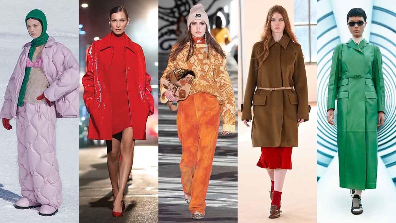 I colori della moda autunno inverno 2021 2022. la top ten dei colori moda - Foto da sin. Miu Miu, MIchael Kors, Etro, Max Mara e Salvatore Ferragamo