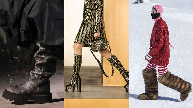 Moda accessori autunno inverno 2021 2021. Le più belle tendenze stivali - Foto da sin: Sportmax, Versace e MiuMiu